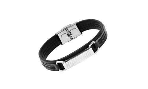 Steeltime Men's Leather Father Prayer Bracelet - Black Hmy Jewerly Inc