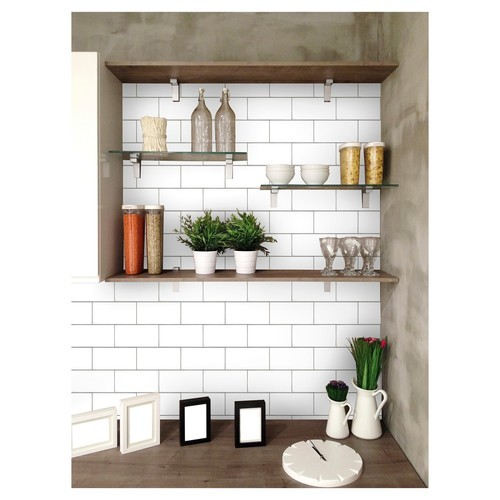 Devine Color Textured Subway Tile Peel Stick Wallpaper White Check Back Soon Blinq