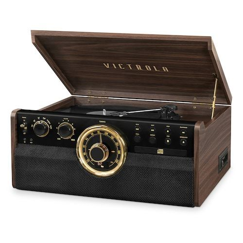 Victrola 6-in-1 Wood Empire Mid-Century Modern Bluetooth Record Player Innovative Technology Electronics (VTA-270B-ESP) photo