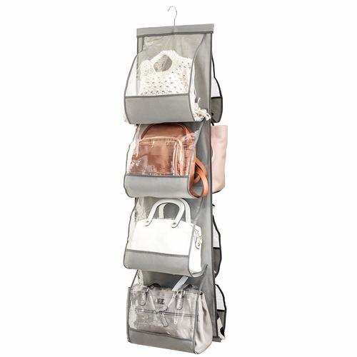Zober Closet Clear Handbag Hanging Purse Organizer - Gray (ZO-NW303) photo