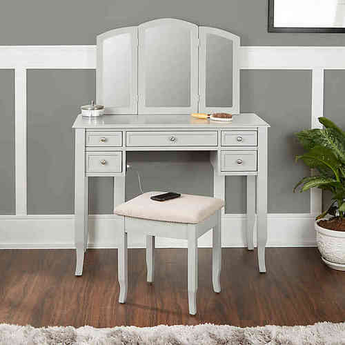 Charlotte 2 Piece Vanity Set With Power Strip And Usb Gray Check Back Soon Blinq