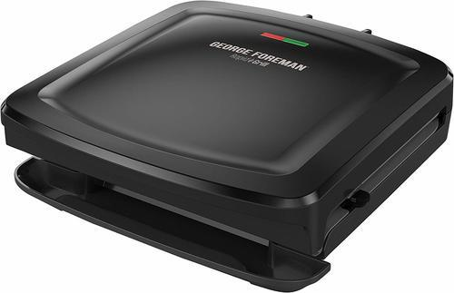 George 4 Serving Removable Plate Electric Grill & Panini Press - Black
