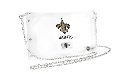 Little Earth NFL Women's Clear Envelope Clutch Purse - New Orleans Saints (Women's Purse) photo