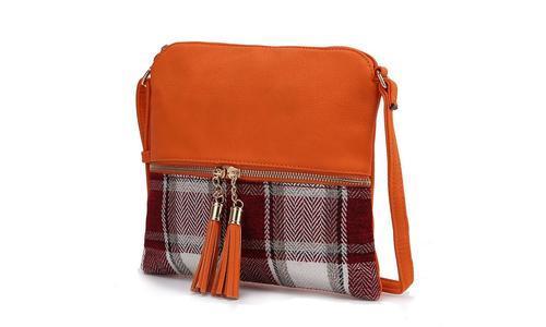 MKF Women's Shallye Plaid Leather Crossbody Purse - Orange photo