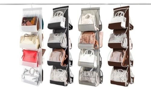 Hanging Purse & Handbag Organizer: 8 Easy Access Pockets Brown Zober photo