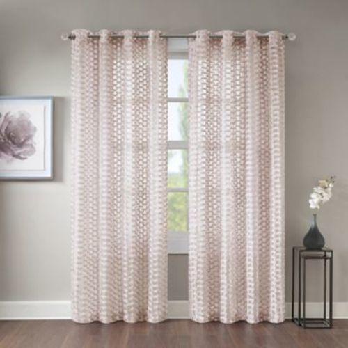 """Erin 108"""" Sheer Grommet Top Window Curtain Panel - Pink"""