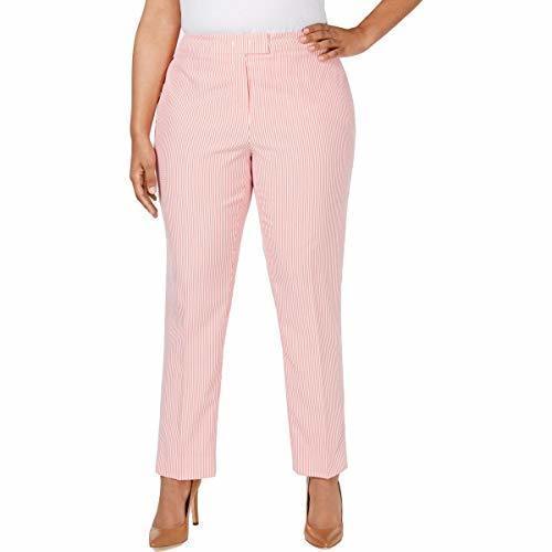Anne Klein Women S Plus Size Striped Seersucker Pants Red Size