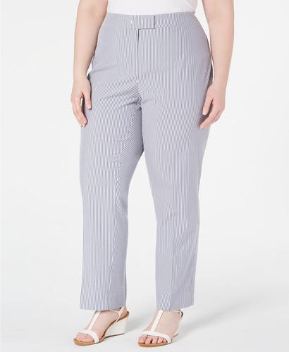 Women S Plus Size Striped Seersucker Pants Medium Red Size