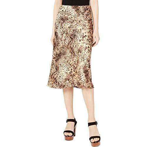 Cotton Candy Womens Tan Animal Print A-Line Casual Midi Skirt XS BHFO 8913