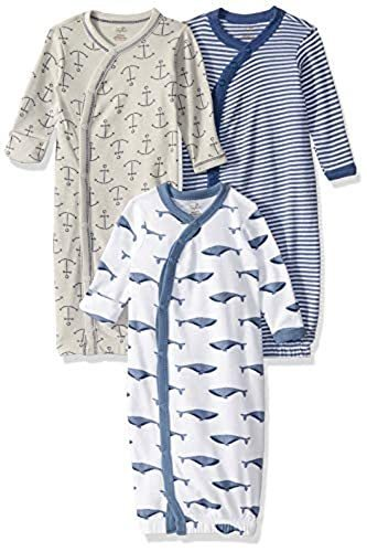 Blue Whale Touched By Nature Boy and Girl Organic Kimono Gown 3-Pack