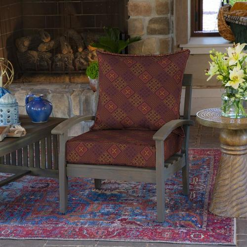 Arden Azulejo Southwest Outdoor Deep Seat Cushion Set Red Check Back Soon Blinq