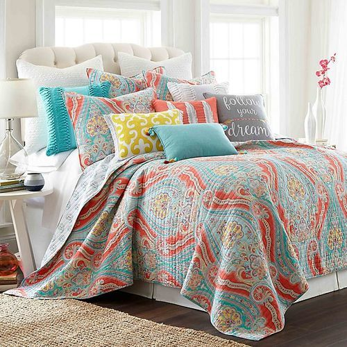 Levtex Home Sherie Reversible Quilt Set Coral Blue Size King Check Back Soon Blinq