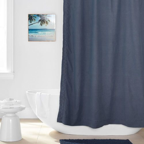 Pottery Barn Teen Washed Canvas Shower Curtain Classic Navy Size One Check Back Soon Blinq