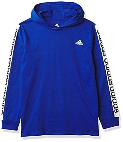 adidas Boys' Long Sleeve Cotton Jersey Hooded T-Shirt Tee, BoS ...
